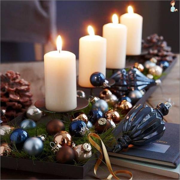 Žvakės Kalėdų 2017 stalo
