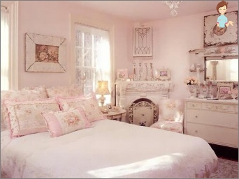 A cozy bedroom in the style of Shabby Chic