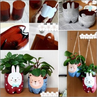 Crafts from plastic bottles - the tropics in your home