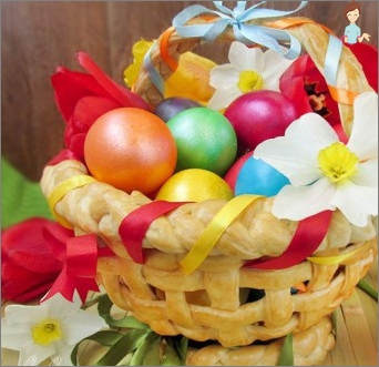 Easter basket of eggs with their hands
