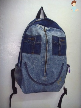 How to sew a backpack of old worn jeans?