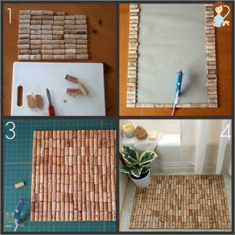 Making a rug of wine stoppers: a sequence of actions