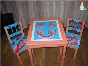 Children's table with their own hands