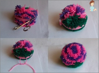 How to make a pompom on a hat with the help of improvised tools?