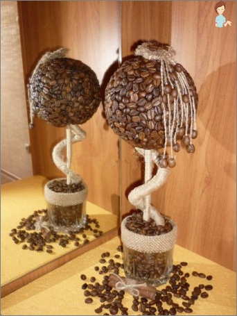 Crafts from coffee beans: Bonsai tree and coffee waterfall