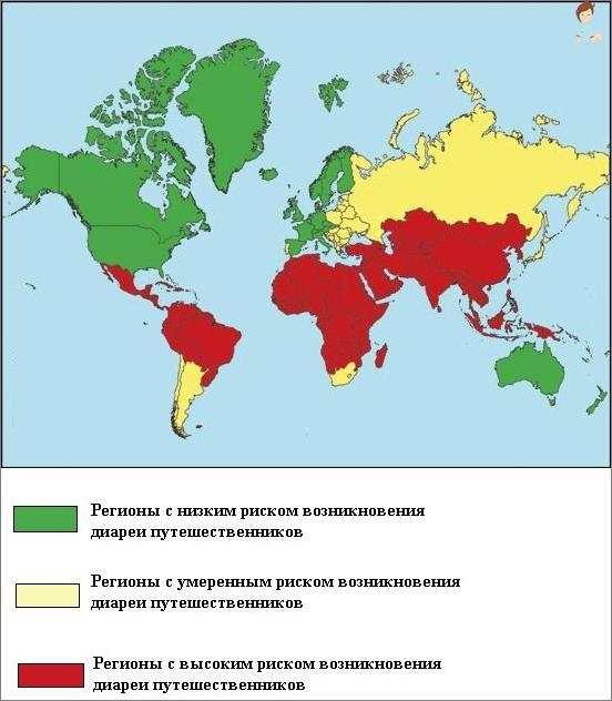 Vertrieb von Reisenden Durchfall für Länder und Kontinente