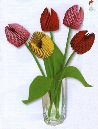 So erstellen Sie ein Tulpen von Papier: Wir studieren den einfachsten Handwerk in der Origami-Technik