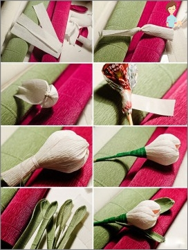 Tulips from sweets and corrugated paper: do it yourself with your own hands