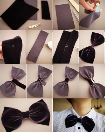 How do you make your hands a male butterfly or tie from a fabric or satin ribbon?
